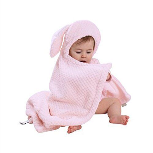 New Clair de Lune BUNNY EARS HOODED BLANKET in Honeycomb Pink 100cm x 75cm