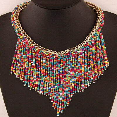 Long Tassel Pendant Rhinestone Statement Choker Collar Chunky Women Necklace