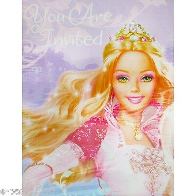 - BARBIE 12 Dancing Princesses INVITATIONS (8)~ Birthday Party Supplies Card Note