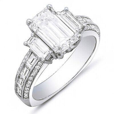 GIA 2.50 Ct. Emerald Cut, Baguette & Round Diamond Engagement Ring 14K I, VS2