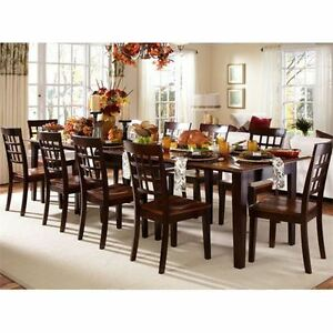 SOLID WOOD EXPANSION DINING TABLE & 4 SIDE CHAIRS