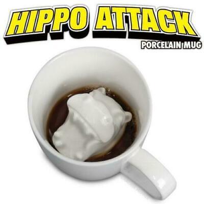 HIPPO ATTACK Animal PORCELAIN MUG Scary Weird Gag Gift Novelty