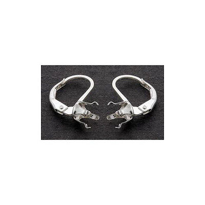 *CLOSEOUT* 6mm Round,Heart,Trillion Snap-tite Leverback Sterling Earring Setting