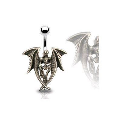 Gothic Angel of Dore Belly Ring Navel Naval Wing Demon Devil Halloween (w379) ](Halloween Belly Button Rings)