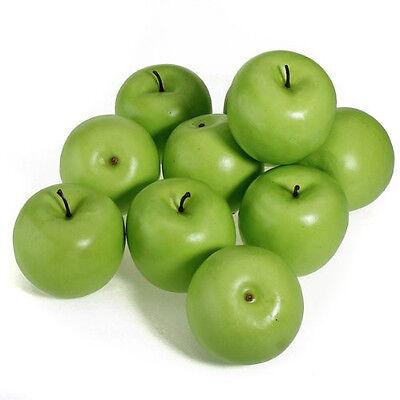 6/12 x Lifelike Artificial Fake Green Apple Plastic Foam Decorative Fruits - Foam Apples