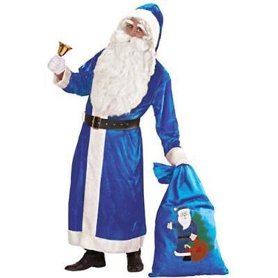 WEIHNACHTSMANN MANTEL 54 XL SAMT blau Väterchen Frost Kostüm