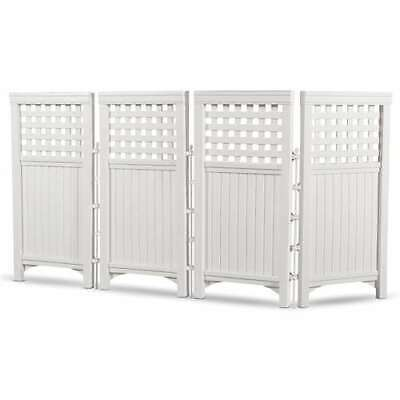 Suncast Garden Yard 4 Panel Screen Enclosure Gated Fence, White (Open Box)