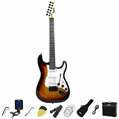 LyxPro Full Size Electric Guitar with 20w Amp, Package Inclu