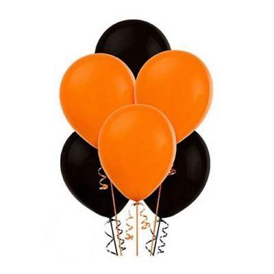 50 latex balloons ORANGE & BLACK Halloween helium or air 10