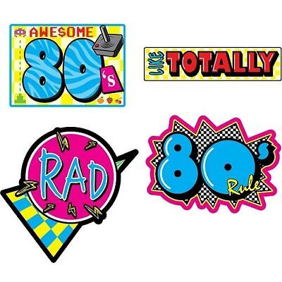 Pack of 4 Assorted 80's Cutouts -  Wall Decorations - Eighties Party Decoration - Eighties Party Decorations