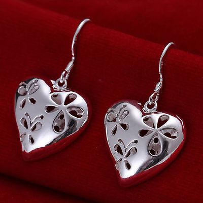 New Silver Plated Hollow Puffed Cut Out Flower Heart Shape Dangle Earrings