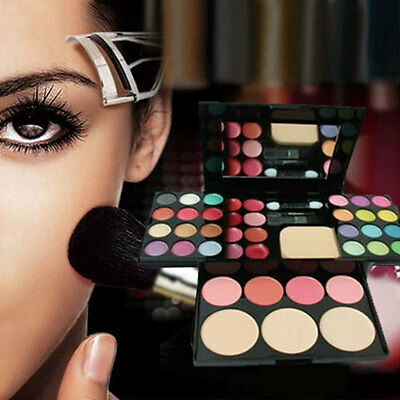 Blusher Lip Gloss Shimmer Eyeshadow Palette Makeup Set Brush Mirror Cosmetic Kit