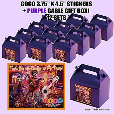 Coco Disney Party Favor Boxes Thank you Decals Stickers Loots Purple Party 12PC