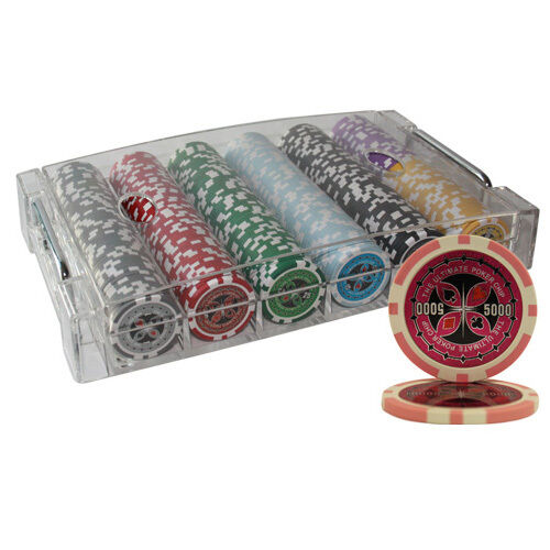 300PCS 14G ULTIMATE CASINO TABLE CLAY POKER CHIPS SET ACRYLIC CASE