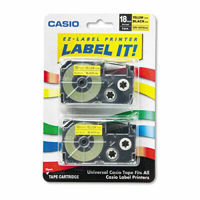 Casio Tape Cassettes For Kl Label Makers 0.75 X 26 Ft Black On Yellow 2pack