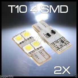 2x T10 W5W 501 4 SMD 5050 LED ERROR FREE CANBUS CAR SIDE LIGHT WEDGE WHITE BULB.