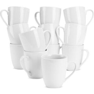 White Mugs Tea Coffee  Cups Kitchen 10 Strawberry Street  Mugs, Set of 12