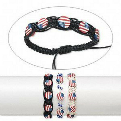 Wholesale Lot* 6 Bracelets Patriotic Jewelry American USA Flag Bracelet Set