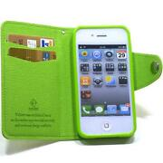iPhone 4 Leather Flip Case Green