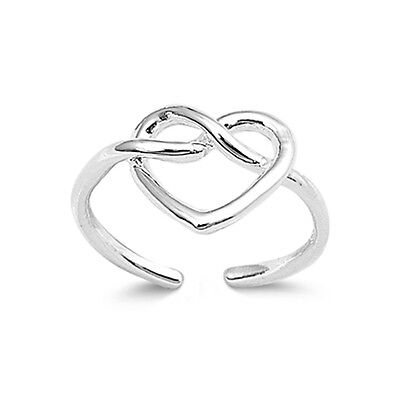 .925 Sterling Silver Classic Infinity Knot Love Heart Summer Toe Ring NEW