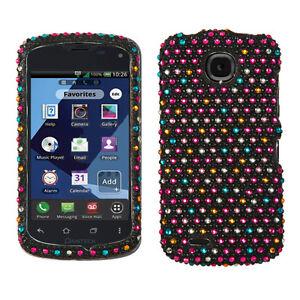 For Verizon Pantech Marauder Crystal Diamond BLING Case Phone Cover Rainbow Dots