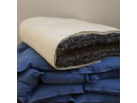 Natural Double Futon Mattress / Organic cotton cover / Eco recycled wool