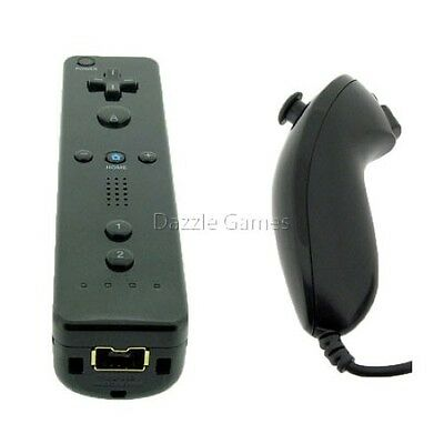 Nintendo Wii Control - Black Remote Wiimote Nunchuck Controller Set Combo for Nintendo Wii Game