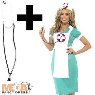 Nurse Costume + Stethoscope Ladies Fancy Dress Uniform Occupations Womens Outfit (Occupation Fancy Dress)