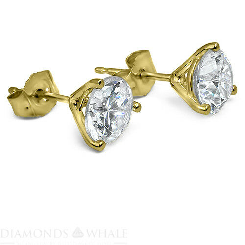 Stud Enhanced Round Diamond Earrings 1 Ct Si1/f 18k Yellow Gold Engagement