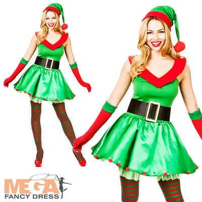 Christmas Elf + Hat Ladies Fancy Dress Santas Little Helper Womens Adult - Little Christmas Elf Kostüm