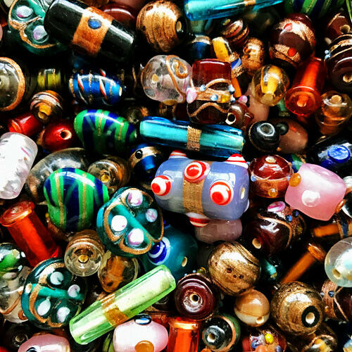 FANCY GLASS BEADS PREMIUM JEWELRY CRAFT MIX 8-14MM 50 INDIA BEAD MIXES FG2