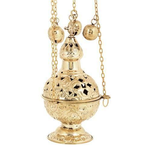 Christian Church Liturgical Brass Thurible Incense Burner 4 chains 12 bells