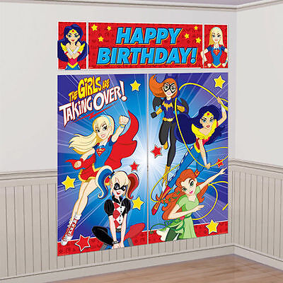 DC SUPER HERO GIRLS WALL BANNER DECORATING KIT (5pc) Birthday Party - Girls Superhero Party Supplies
