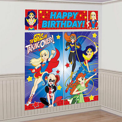 DC SUPER HERO GIRLS WALL BANNER DECORATING KIT (5pc) ~ Birthday Party - Girls Superhero Party Supplies