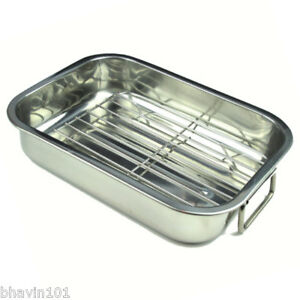 stainless steel roasting tray pan dish tin rack baking. Black Bedroom Furniture Sets. Home Design Ideas
