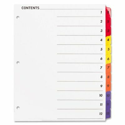 Sparco Color Coded Indexing System - Printed1-12 - 12 / Set - White (spr21903)