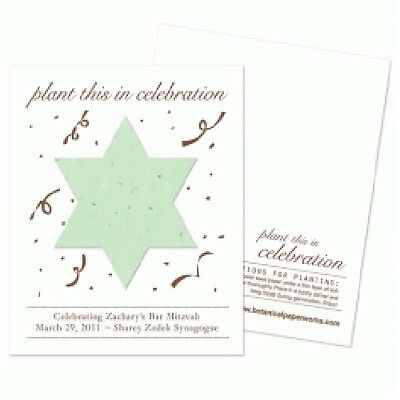 75 Plantable Bar Mitzvah Favor Cards with Free Personalization](Bar Mitzvah Favor)