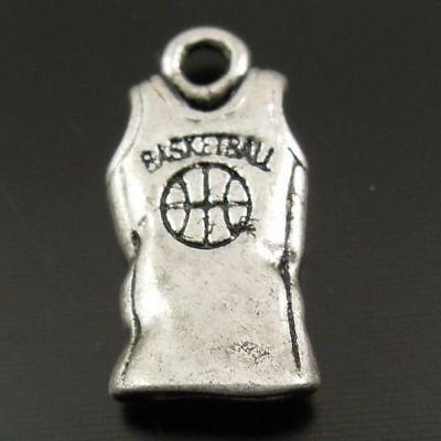 Weinlese Silber Tone Legierung Basketball Kleidung Weste Charme Schmuck 40 Stk