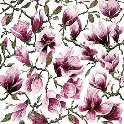 4 x Paper Napkins - Magnolia - Ideal for Decoupage / Napkin Art