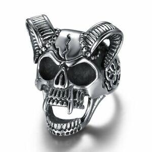 Large stainless steel punk style skull horn ring 100% NEW