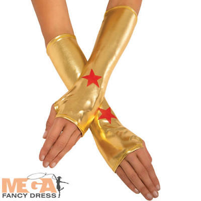 Wonder Woman Gauntlets Gloves Superhero Fancy Dress Costume Ladies Accessory New