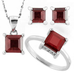 Ruby 925 Sterling Silver Necklace, Earrings, Ring Set