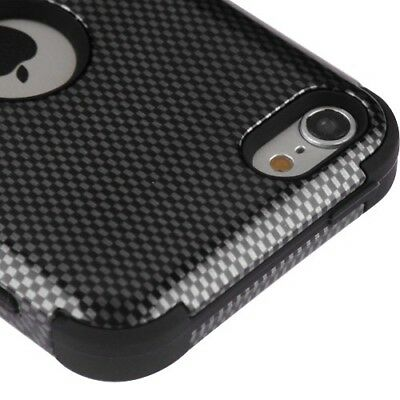 Carbon Fiber Ipod Touch Case - iPod Touch 5th / 6th Gen - Black Carbon Fiber Hybrid Shockproof Armor Skin Case