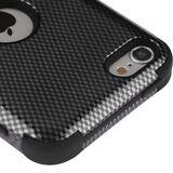 iPod Touch 5th / 6th Gen - Black Carbon Fiber Hybrid Shockproof Armor Skin Case