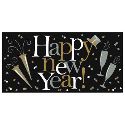 NEW YEAR'S EVE Black Gold & Silver JUMBO PLASTIC BANNER ~Birthday Party Supplies