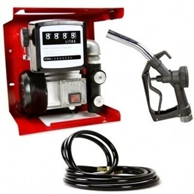 Electric Fuel Transfer Hose Gas Dispenser Oil Pump With Meter Metered Gauge