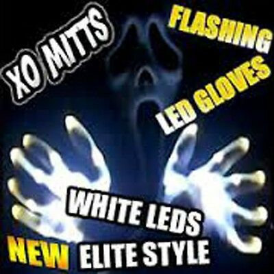 XO Magic Mitts ALL WHITE LED Flashing Gloves Raver Party Dance WOW Party FUN!