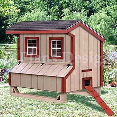 5x6 Saltbox Style Chicken Poultry Coop Plans 90506s
