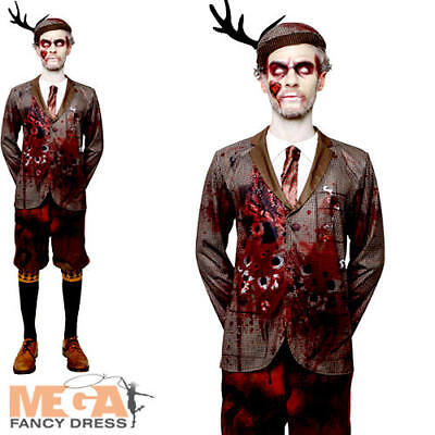 Halloween Costumes Zombie Hunter (Lord Gravestone Zombie Hunter Mens Fancy Dress Halloween Horror Adult Costume)