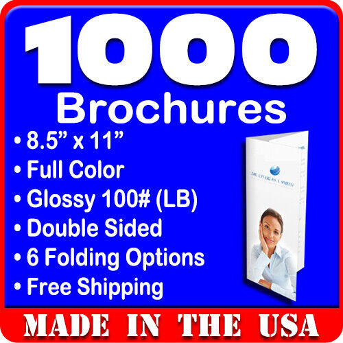 1,000 Full Color Double Sided 8.5x11 Tri-Fold Brochures on 100# Glossy Coating